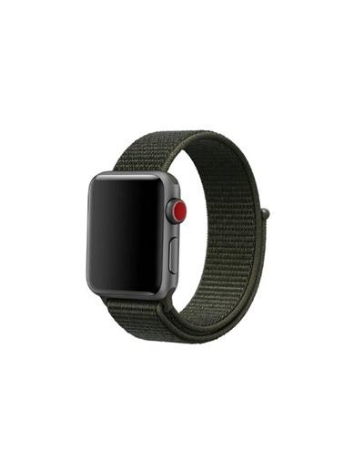 Apple Apple Watch Kordon Dokuma Sport Loop Hasır Kayış 42Mm - 44Mm Seri 6 - Se - 5 - 4 - 3 - 2 - 1 Haki Yeşil Yeşil